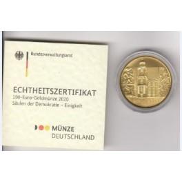100 Euro Münze Säulen der Demokratie mit Box und Zertifikat 2020
