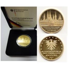 100 Euro Gold Lübeck mit Box und Zertifikat