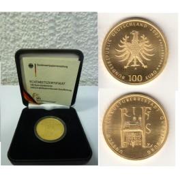 100 Euro Gold  Quedlinburg mit Box und Zertifikat