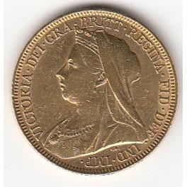 Goldmünze 1 Sovereign Victoria mit Witwenschleier Old Head