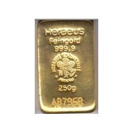 250 gr Goldbarren Resale Valcambi , Heraeus , Degussa