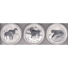 2 Unzen Fine Silver Tiger, Rabbit, Snake,Horse,Dragon