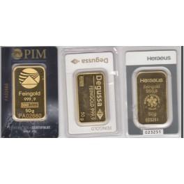 50 gramm Goldbarren aus 2 ter Hand Heraeus ,  Degussa und PIM im Blister
