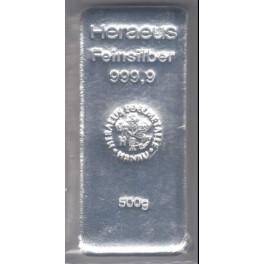 500 Gramm Silberbarren Heraeus Neuware eingeschweißt