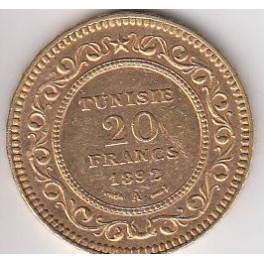 20 Francs Tunisie 1891,1892,1904,arabische Schrift und lateinische Schrift